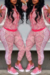 Wearvip Sporty Floral Print Zip Up Pants Sets