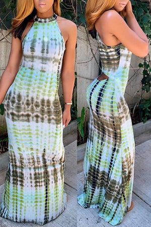 Wearvip Bohemian Tie Dye Print Sleeveless Dress