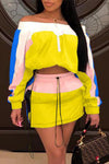 Wearvip Sporty Solid Color Patchwork Zipper Short Sets