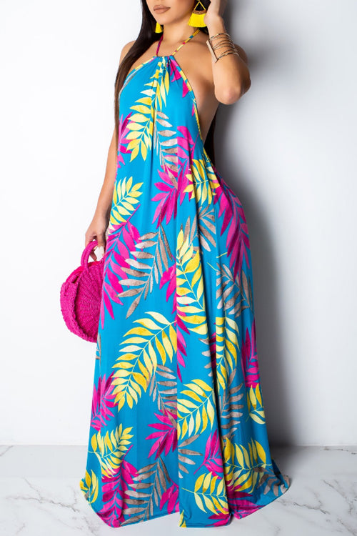 Wearvip Bohemian Halter Backless Tropical Print Maxi Dress (With Headscarf)