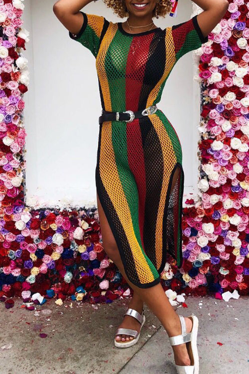 Wearvip Casual Mesh Striped Print Dress