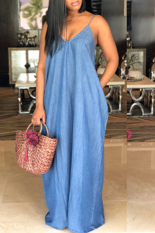 Wearvip Casual Denim Spaghetti Strap Dress (With Pocket)