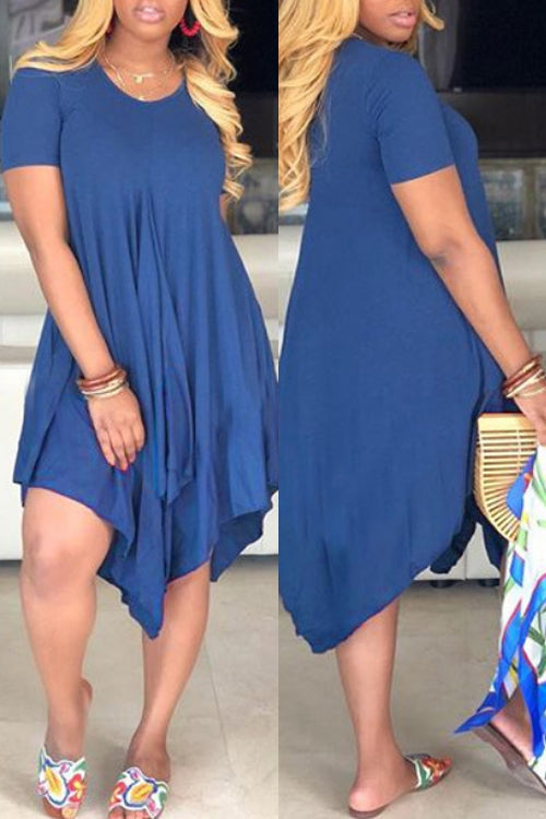 Wearvip Casual Solid Color Assymetrical Hem Midi Dress