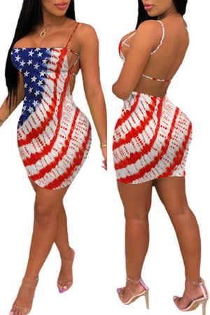 Wearvip Casual Backless Flag Print Mini Dress
