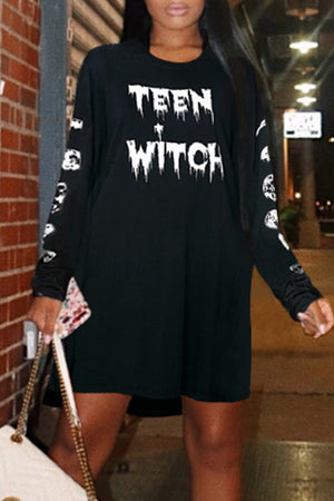 Wearvip Casual Long Sleeve Letters Print Mini Dress