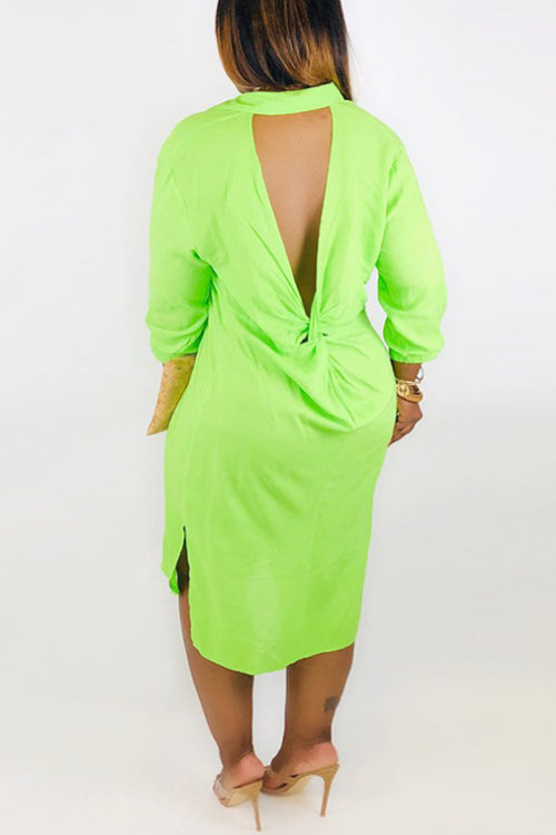 Wearvip Casual Solid Color Backless Split Midi Dress