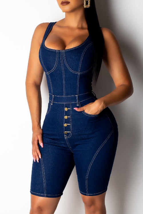 Wearvip Casual Spaghetti Strap Sleeveless Denim Romper (With Pocket)