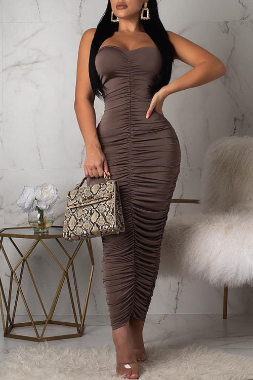 Wearvip Party Strapless Fold Maxi Dress