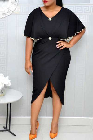 Wearvip OL V-neck Sleeve Pearl Trim Midi Dress