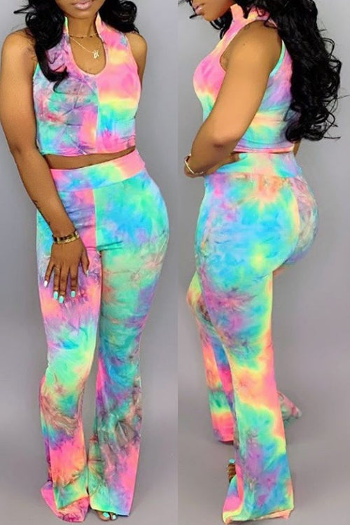 Wearvip Casual U-neck Sleeveless Tie Dye Print Pants Sets