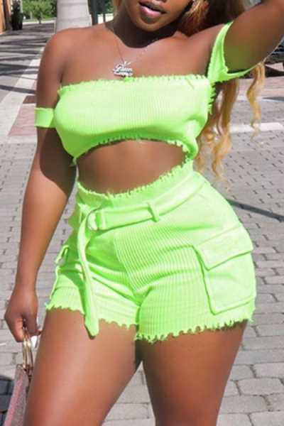 Wearvip Casual Strapless Shorts Sets (With Belt)