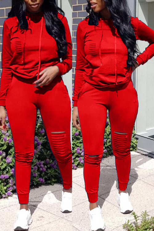 Wearvip Casual Broken Holes Hooded Pant Sets