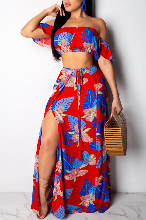 Wearvip Bohemian Strapless Floral Print Skirt Sets