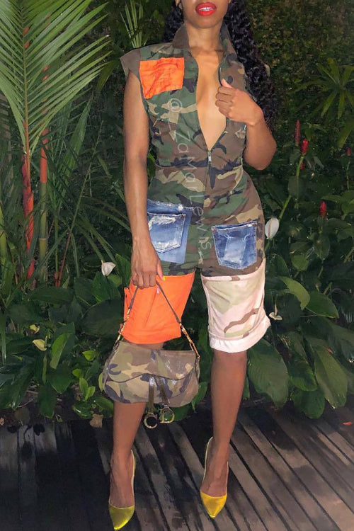 Wearvip Sporty Camouflage Sleeveless Romper