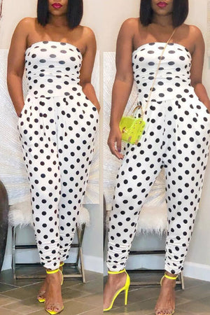Wearvip OL Strapless Polka Dot Print Jumpsuit