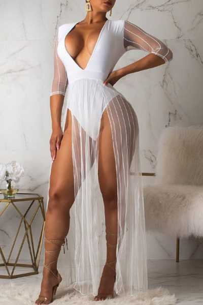 Wearvip Bohemian V-neck High Split See-through Maxi Dress