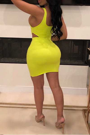 Wearvip Casual Solid Color Backless Skirt Sets