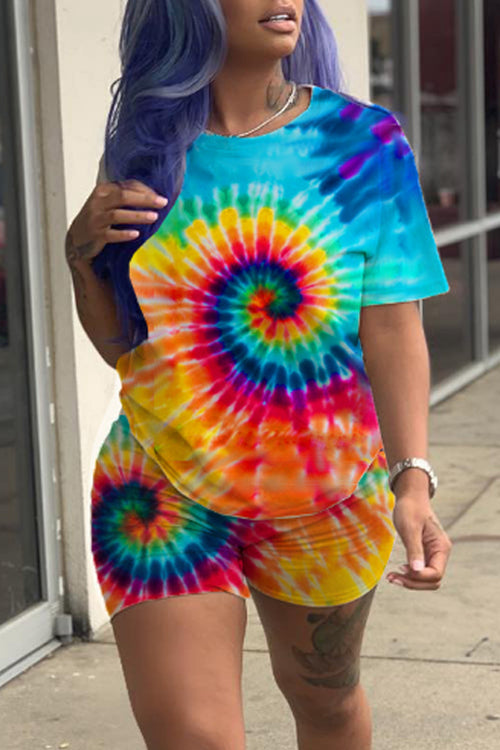 Wearvip Casual Tie Dye Print Shorts Sets