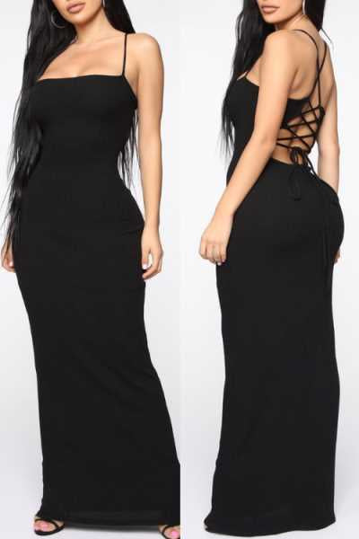 Wearvip Party Solid Color Back Lace Up Maxi Dress