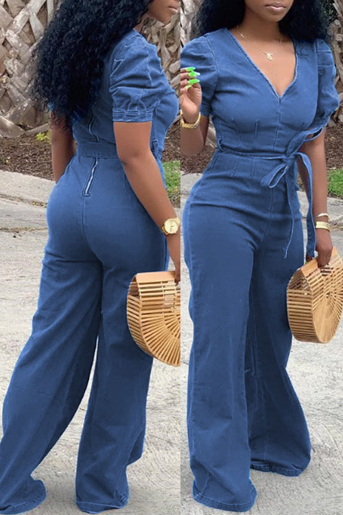 Wearvip Casual V-neck Denim Zipper Jumpsuit