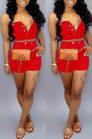 Wearvip Casual Denim Spaghetti Strap Short Sets