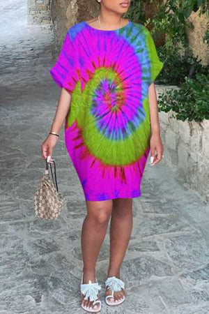 Wearvip Casual Loose O-Neck Tie Dye Print Mini Dress