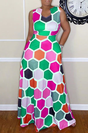 Wearvip Party Sleeveless Geometric Print Maxi Dress (With Pocket)