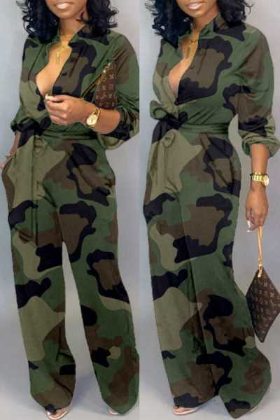 Wearvip Casual Camouflage Print Wide Leg Jumpsuit (With Belt)