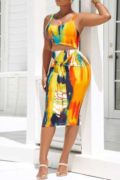 Wearvip Casual Sleeveless Gradient Print Skirt Sets