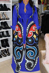 Wearvip Bohemian Geometric Print Butterfly Maxi Dress