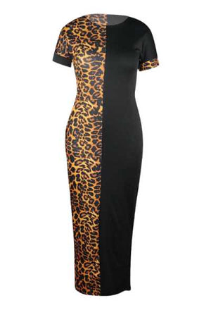 Wearvip Casual Animal Print Maxi Dress (With Pocket)