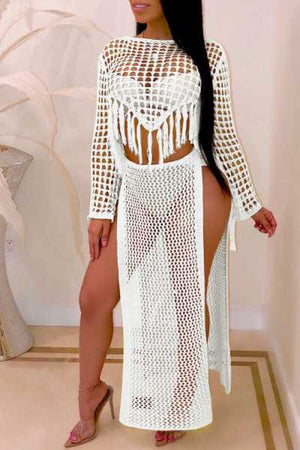 Wearvip Bohemian Long Sleeve Hollow Out Skirt Sets