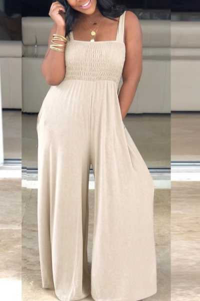 Wearvip Casual Solid Color Loose Wide Leg Jumpsuit