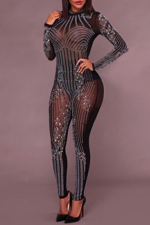 Wearvip Party Hot Drilling Mesh Jumpsuit