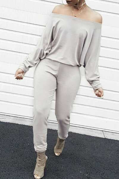 Wearvip Casual Solid Color Long Sleeve Off Shoulder Jumpsuit