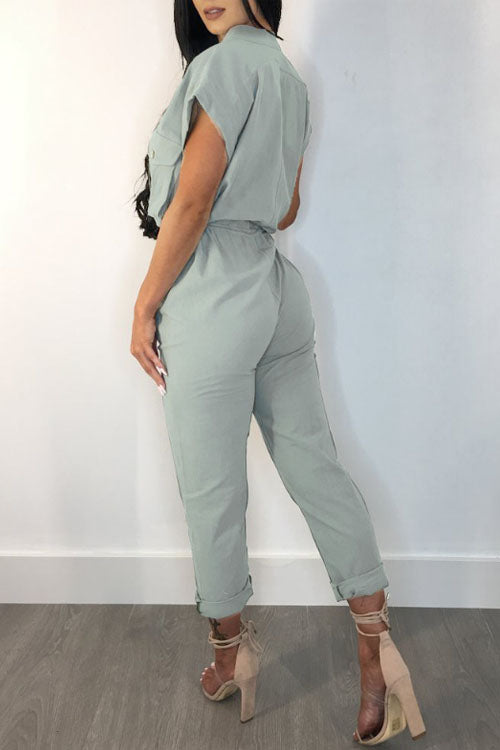 Wearvip Casual Frock Style Deep V-neck Tie Design Jumpsuit
