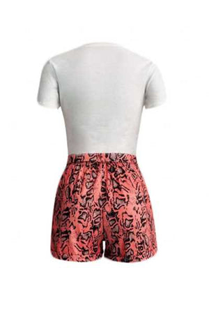 Wearvip Casual Animal Print Shorts Sets