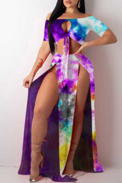 Wearvip Bohemian Tie Dye Print High Split Skirt Sets