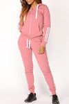 Wearvip Sporty Long Sleeve Zipper Hooded Pant Sets