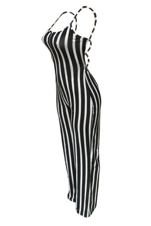Wearvip Casual Striped Print Backless Jumpsuit