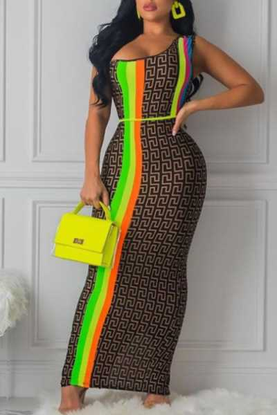 Wearvip Party One Shoulder Geometric Print Maxi Dress