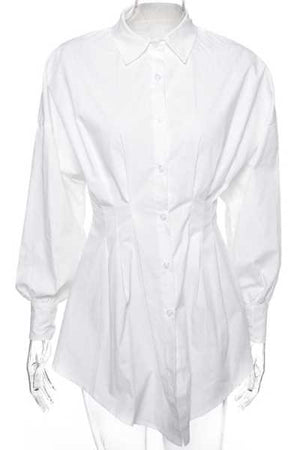 Wearvip Casual Long Sleeve Button Up Mini Shirt Dress (No Corset)