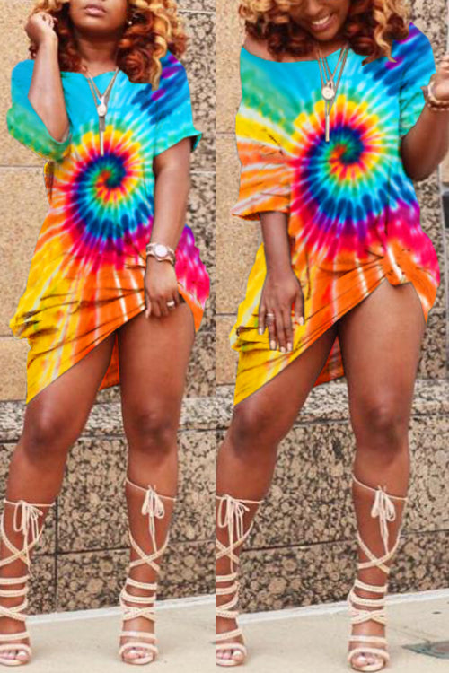 Wearvip Casual Loose Tie Dye Print Midi Dress