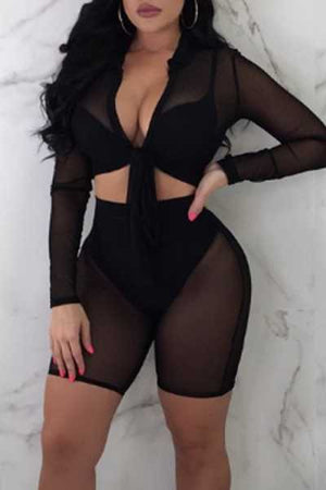 Wearvip Bohemian See-through Tie Design Shorts Sets