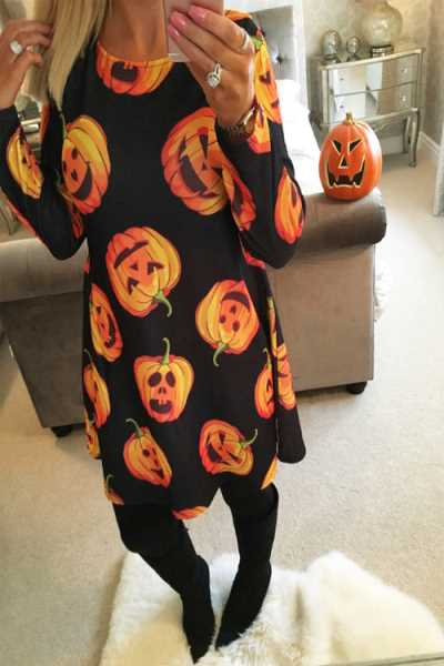 Wearvip Casual Cute Print Halloween Christmas Midi Dress