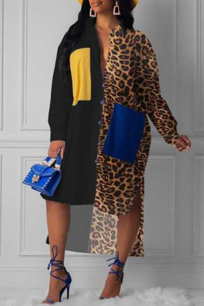 Wearvip Casual Loose Patchwork Leopard Print Midi Dress