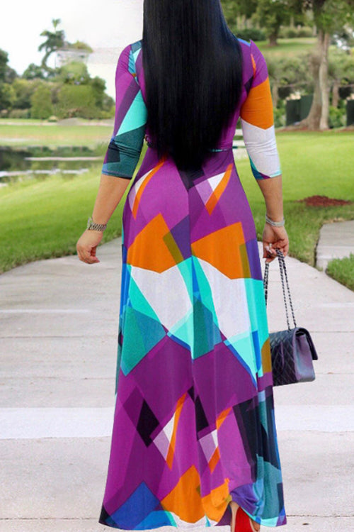 Wearvip Bohemian V-neck Half Sleeve Geometric Print Maxi Dress