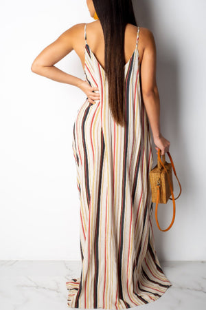 Wearvip Casual Loose Striped Print Spaghetti Strap Dress