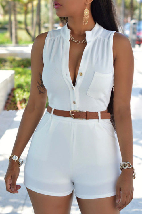 Wearvip Casual Sleeveless Button Up Romper (With Belt)