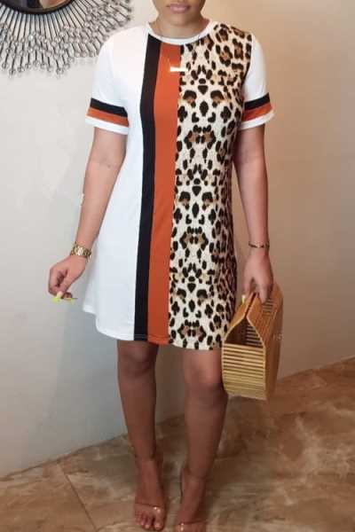 Wearvip Casual O-neck Animal Print Mini T-shirt Dress